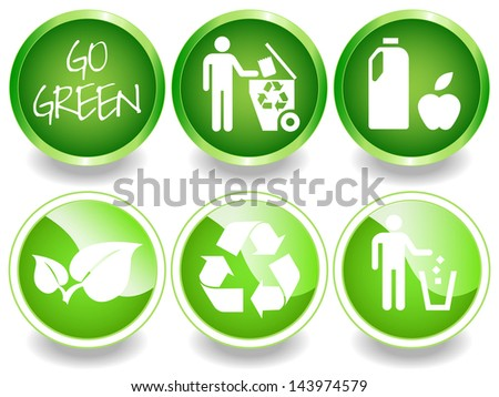Green Stickers Labels Recycling Symbol Leaves Stock Illustration