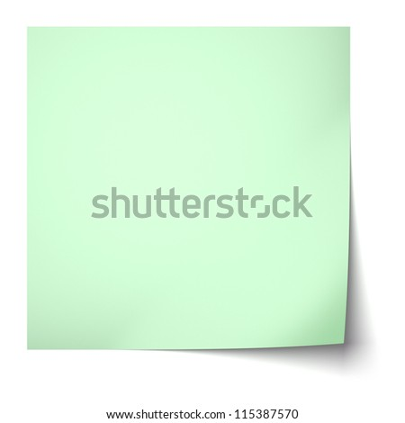 Green sticky note isolated on white background - stock photo