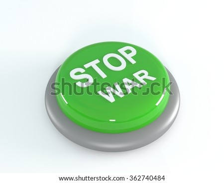 Green STOP WAR button, 3d illustration - stock photo