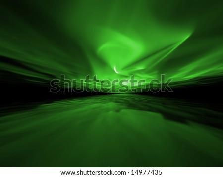 Green Storm - 3D fractal illustration - stock photo