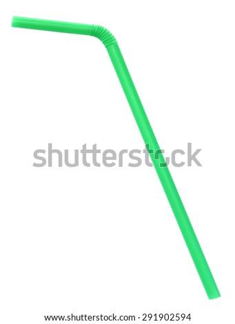 Green straw on white background - stock photo