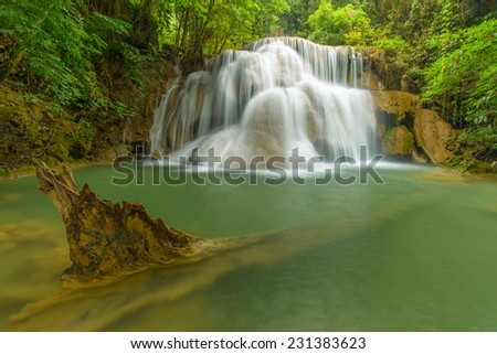 Green stream waterfall in Kanjanaburi Thailand.