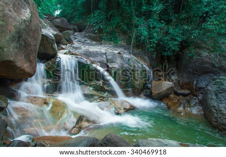 Green  stream waterfall  in  Thailand