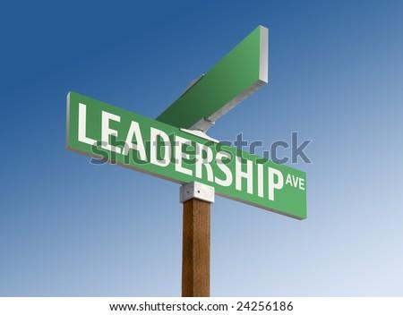 Green street sign reading Leadership Ave. - stock photo