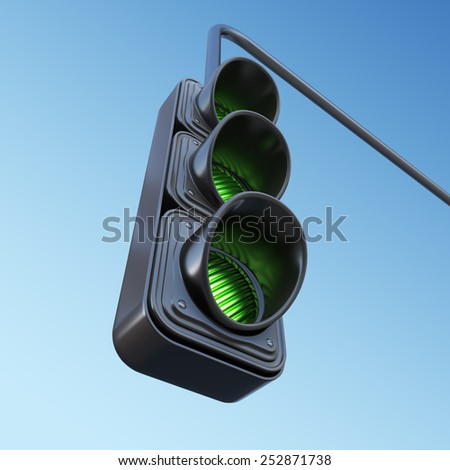 Green street traffic light on sky. 3D illustration - stock photo