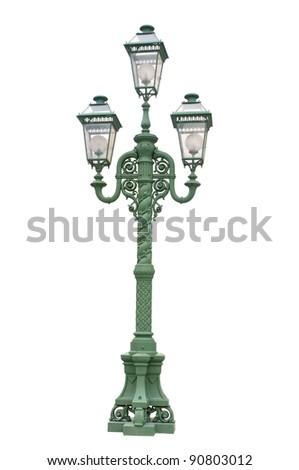 Green streetlamp on white background - stock photo
