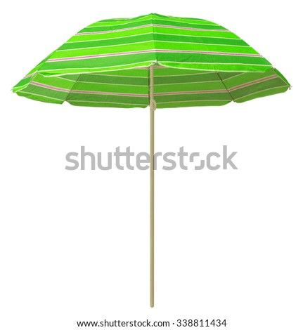 Green striped beach umbrella isolated on white. Clipping path included. - stock photo