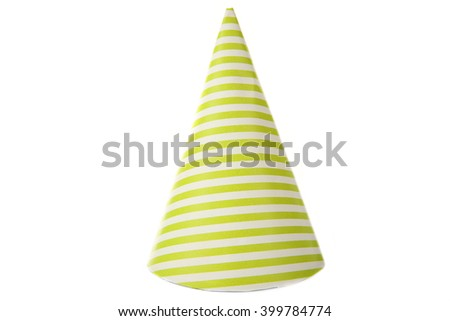 Green striped party hat, isolated on white - stock photo