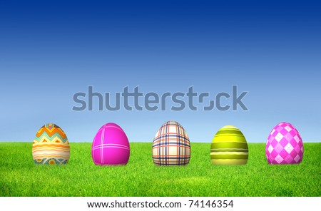 Green striped pattern Easter Egg with blue sky and green grass