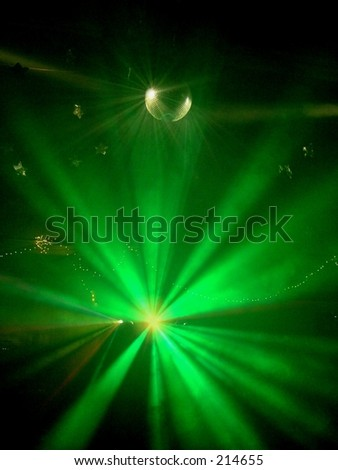 Green Strobe  Lights on Mirror Ball at Party