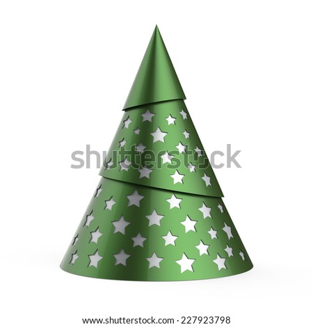 Green stylized Christmas tree with silver stars, isolated on white background - stock photo
