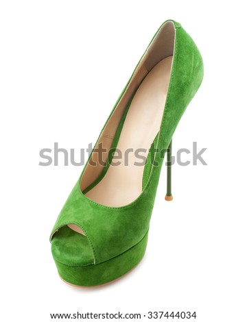 Green suede high heel shoe isolated on white background.Top view. - stock photo