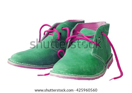 Green suede shoes A shoestring pink A suede classic style luxury Casual suede shoes on white background - stock photo