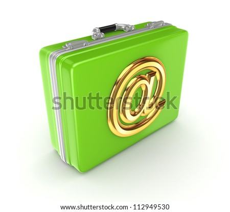 Green suitcase with golden AT symbol. Isolated on white background.3d rendered. - stock photo
