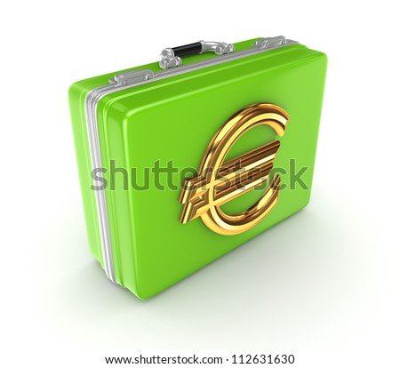 Green suitcase with golden euro sign.Isolated on white background.3d rendered. - stock photo