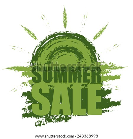 Green Summer Sale Banner, Sticker, Icon or Label Isolated on White Background  - stock photo