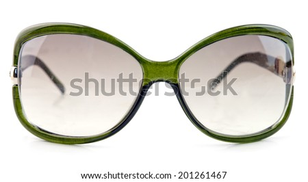 green sun glasses isolated on a white background