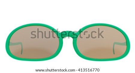 Green sun glasses isolated on white background. Include clipping path. 3D render - stock photo