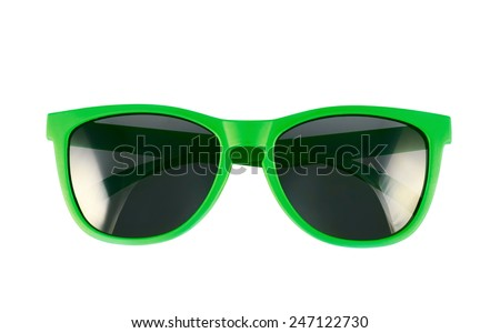 Green sun glasses isolated over the white background - stock photo