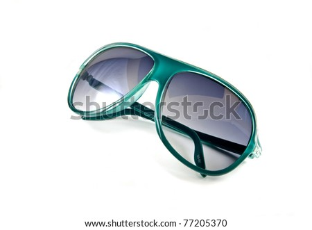 Green sunglasses isolated on white background - stock photo