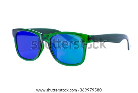 Green Sunglasses isolated over white background - stock photo