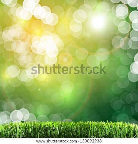 Green sunny natural background concept with fine bokeh - great for posters, cards or banners