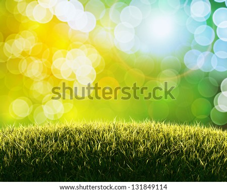 Green sunny natural background concept with fine bokeh - great for posters, cards or banners - stock photo