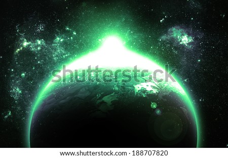 Green Sunrise Over Planet - Elements of this Image Furnished By NASA - stock photo