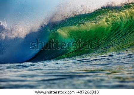 Green Sunset Ocean Wave for surfing