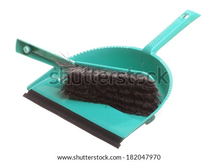 Green sweeping brush and dustpan for house work. Cleaning. Isolated on white background