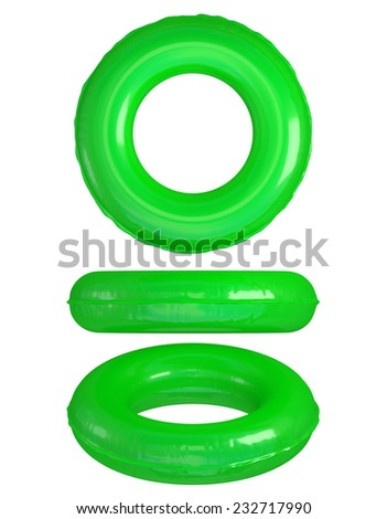 Green Swim Rings on White. Clipping path - stock photo