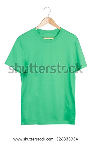 Green t-shirt on hanger isolated on white  - stock photo