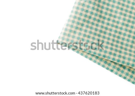 green tablecloth on white background