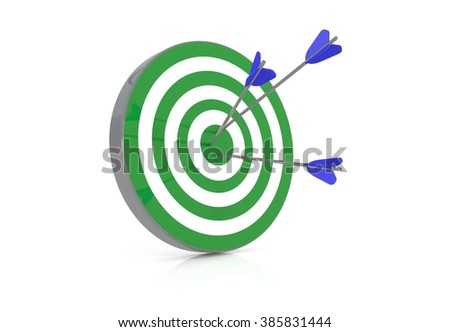 Green target with 3 arrows in the bullseye, 3d illustration - stock photo