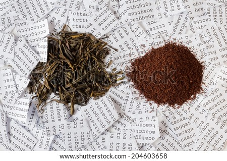 Green tea and coffee with a background of a tore DNA sequence - stock photo