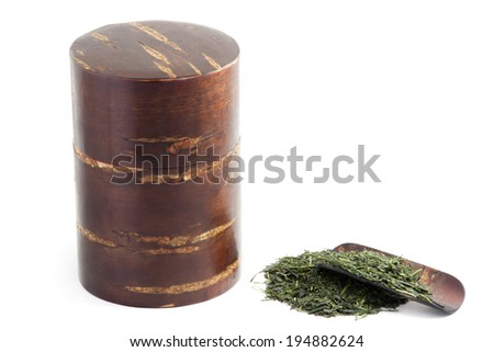 Green tea and tea canister made from cherry blossom tree