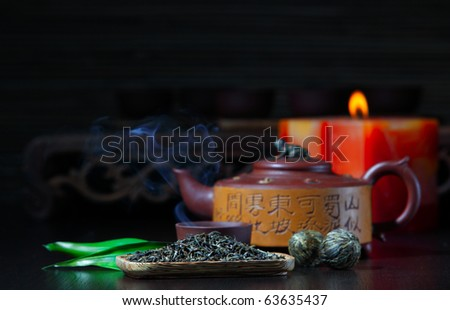 Green tea and the Chinese teapot - stock photo
