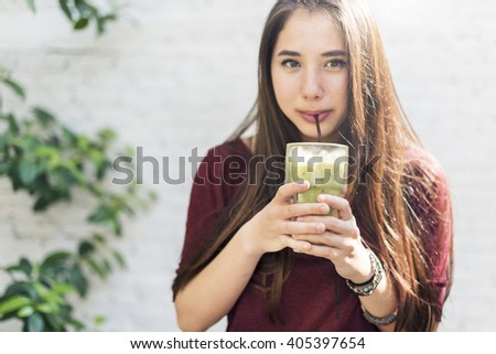Green Tea Cafe Bar Lifestyle Relaxing Resting Concept - stock photo