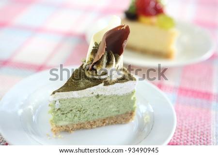 green tea cake - stock photo
