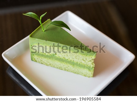 Green tea cake and  - stock photo