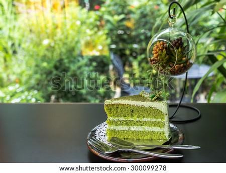 green tea cake, Matcha Green tea cake - stock photo