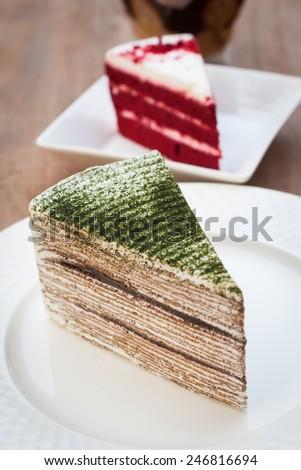 Green tea cake, thousand layers cake - stock photo