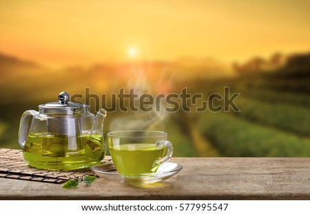 Green Tea cup and glass jugs or jars. with and Green tea leaf sacking on the wooden table and the tea plantations background