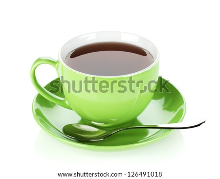 Green tea cup with spoon. Isolated on white background - stock photo