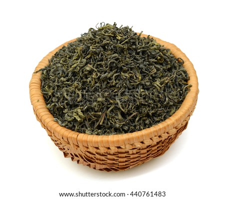 green tea in basket isolated on white background
