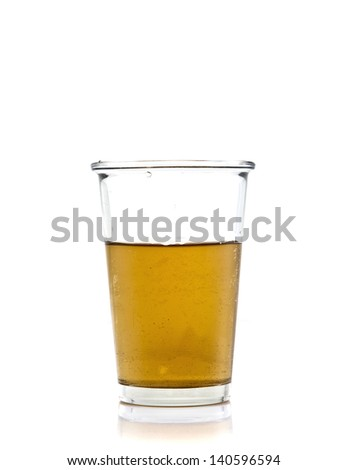 Green tea in clear glass on the white background