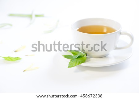 green tea in white cup and saucer