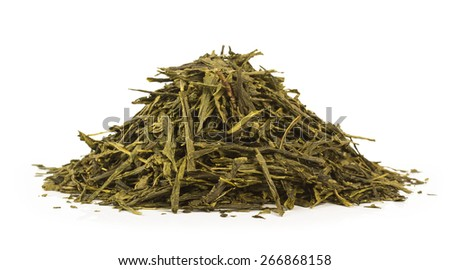 Green tea isolated on white background - stock photo