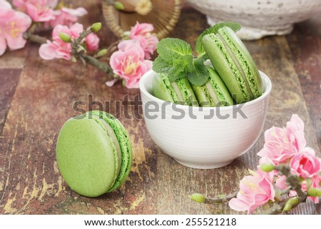 Green tea macarons A teacup filled with matcha green tea macarons with cherry blossom over rustic background. Macro, selective focus - stock photo