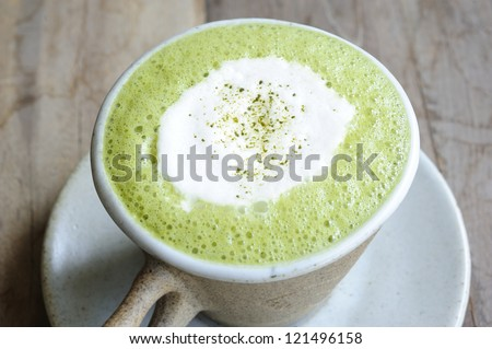 green tea - matcha green tea - smoothie green tea - matcha green tea latte - japanese style - stock photo